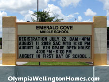 Well-regarded Emerald Cove middle school is just outside the Stribling Way gate to Olympia and is an easy walk from several subdivisions within the community.