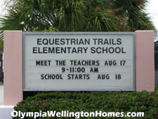 Just outside the southern gate to Olympia, across Stribling Way, is well-rated Equestrian Trails elementary school.