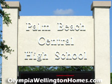 Palm Beach Central High School is just outside Olympia across Southern Blvd.